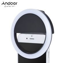 Andoer Mini 36 LED Selfie Ring Light Portable Clip-on Fill-in Lamp Lighting 3 Modes w/ Built-in Battery for iPhone Smartphone PC(China)