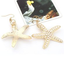 1 Pair Hot Sale Aesthetic Sea Star Starfish Shining Pearl Dangle Earring Fashion Ear Jewelry Size 45cm By 40cm