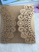 25pcs Freeshipping Kraft Paper Brown Romantic Wedding Invitation Card Greeting Cards Delicate Laser Cut Invitation Cards