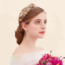 Wholesale Fashion Gold Flower Shape Brides HairBand Pearl Bridal Headbands Wedding Hair Accessoies Metal Hairwear for Girl Party(China)