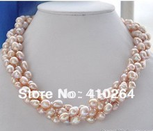 $wholesale_jewelry_wig$ free shipping 4row LAVENDER BAROQUE FRESHWATER PEARL NECKLACE