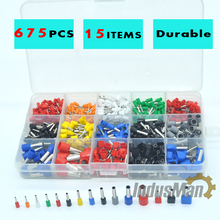 675pcs/Kit cable connector splice insulated terminal block kit wire cable ferrules crimp Pin end terminal from 22-8AWG(China)