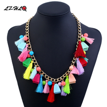 LZLQ Bohemian national wind statament necklace women jewelry hanging spike tassel plush ball multi element necklaces pendants(China)