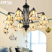 Modern Black Iron Stained Glass Flush Mount Chandeliers Tiffanylamp lighting led ceiling with E27 110v 220v lights for home(China)