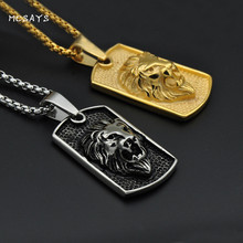 MCSAYS Hip Hop Jewelry Lion Head Square Card Pendant Stainless Steel 60cm Box Chain Necklace Mens Fashion Accessories 3MJ(China)
