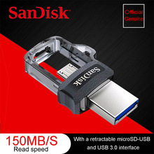 Sandisk SDDD3 Dual OTG USB Flash Drive 64GB Pen Drives 16GB high speed 150M/S PenDrives 32GB OTG USB 3.0 128GB USB Stick(China)