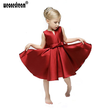 WEONEDREAM European Baby Girls Princess Dress Children Girls Clothing Summer Elegant V-neck Wine Red Party Dress Tutu Gown Dress