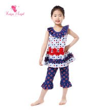 Kaiya Angel Patriotic Day Ruffled Girls Boutique Clothing Kids Clothes 4th Of July Kids Clothes Party Set