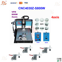 High product!4 axis CNC router 3040Z-S 800W spindle engraving machine with limit switch +4pcs cnc frame,cnc cutting machine