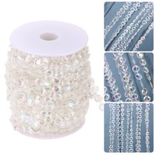 1Roll 30M Crystal Acrylic Beads Garland Diamond DIY Curtain Wedding Decoration Beads String Christmas Hanging Ornaments(China)