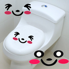 2Pcs Wall Stricker Hot sales 2017 New Home Decor Cute Cartoon Red Smiling Face Wall Bathroom Toilet Sticker free shipping