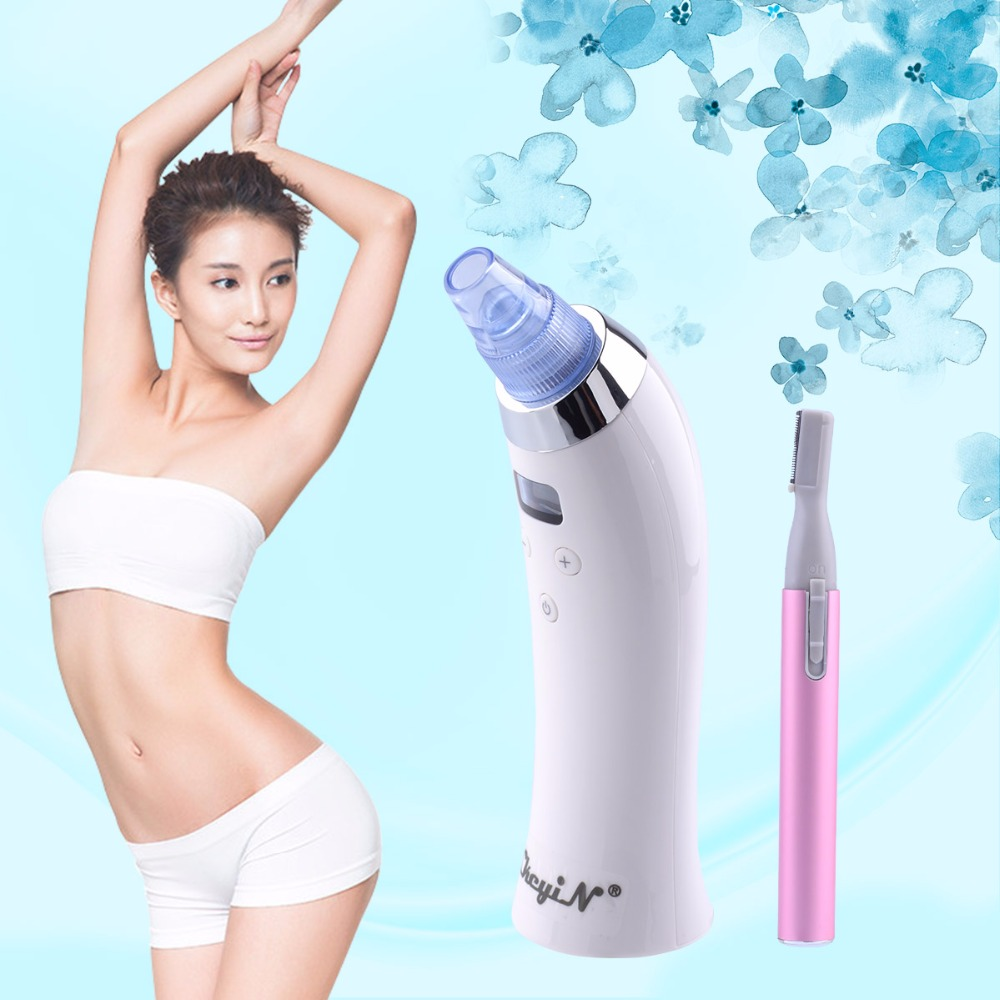 Facial Pore Cleaner Acne Comedo Blackhead Vacuum Suction Machine Beauty Device + Lady Bikini Eyebrow Trimmer Hair Shaver S3435<br>