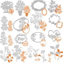 17 Models Flower Garland Cutting Dies Stencil DIY Scrapbooking Embossing Album Paper Card Craft Plant metal cut mold mould 2017