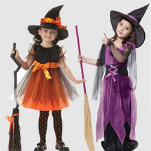 2Pcs Halloween Costume For Girls Halloweentown Dress+Hat O-neck Party Dresses