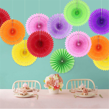 5pcs/lot Multi-size 14 Colors Paper Folding Fan Manual Round Pull Flower Poster for Wall Delicate Background Garland Decorations