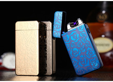 Fashion Double Pulse Arc Metal Ultra-Thin USB plasma Lighter Charging Electronic Cigarette Lighters Gift Box(China)