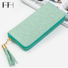 Retro Women leather wristlet long Wallet Clutch gilding pattern female phone purse lady cash coin Purse Card holder femme Bolsos(China)