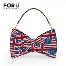 FORUDESIGNS Chains Women Bag Fashion Ladies Messenger Bags UK USA Flag Printed Shoulder Bag High Quality PU Leather Crossbody