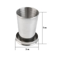 High Quality 60ml  Stainless Steel Portable Outdoor Travel Camping Folding Collapsible Cup New
