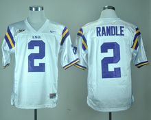Nike Jerseys LSU Tigers Rueben Randle 2 White College Ice Hockey Jerseys S,M,L,XL,XXL,3XL(China)