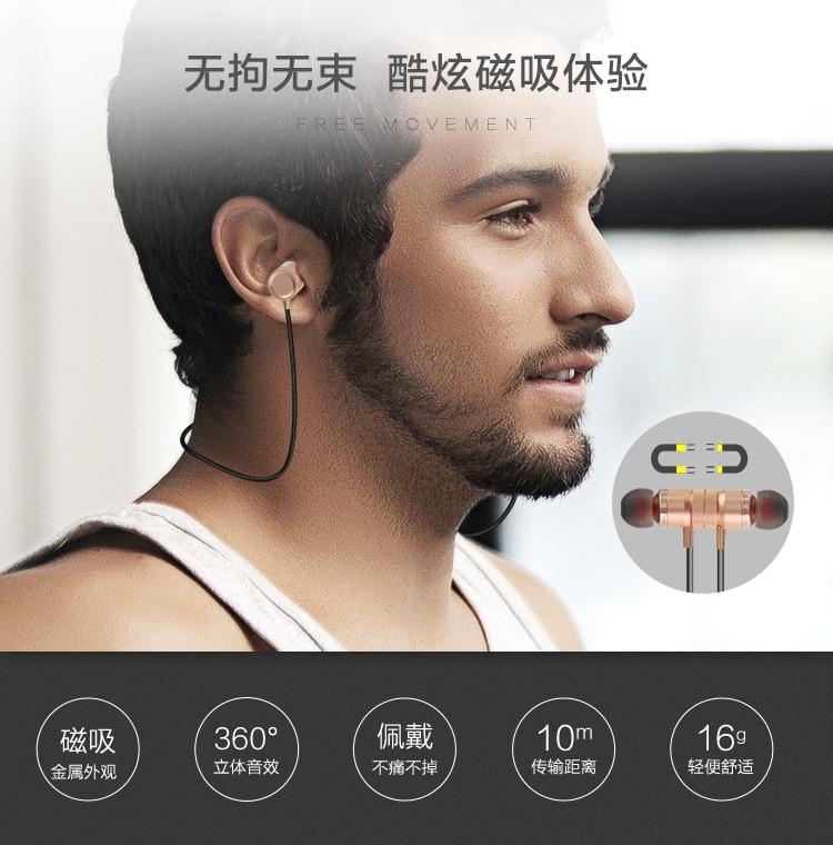 Original Wireless Bluetooth Stereo Sport Earphone Wireless Studio Music Handsfree Sweatproof Headphones for iPhone Samsung Gold