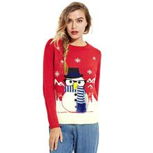 KLV 2017 Christmas Sweaters Women Cute Pattern Knitted Christmas Tree Snowman Long Jumper Pullovers For Winter Autumn