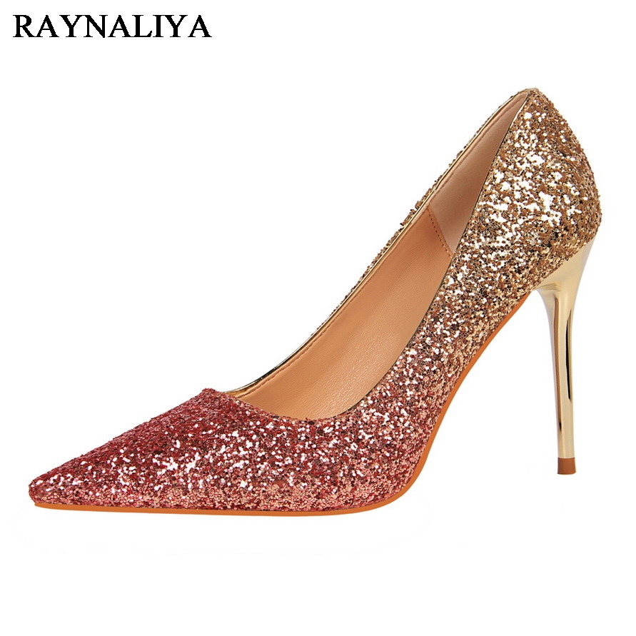 Fashion New High Heels Pumps Black Gold Women Shoes Pump Girls Sequins Thicn Heel Gold Sliver Shoes For Office Lady BT-A0122<br>
