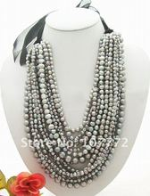 15 strands Grey Pearl Necklace free shipment