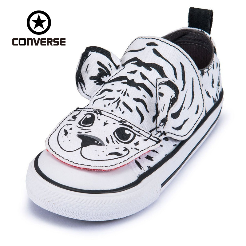New Arrival Original Converse All Stars Canvas Shoe Cute Tiger Print Girl Baby Kids Skateboarding Shoes Casual Sneakers<br>