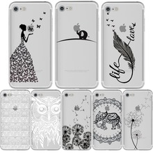 Phone Case for iphone 5s 7 6 6s plus 5 se 7plus Paisley Feather Elephant Owl Dandelion Butterfly Coque Soft Transparent Silicone