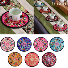 Chinese style decorations Patterns Embroidered Coasters China Wind Tea Pad Creative Thermal Pad Safety Protection Base(China)