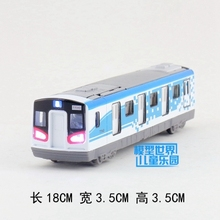 Gift for baby 1pc 18 cm delicate City subway Train simulation Acousto-optic Model Alloy car pull back home decoration child toy