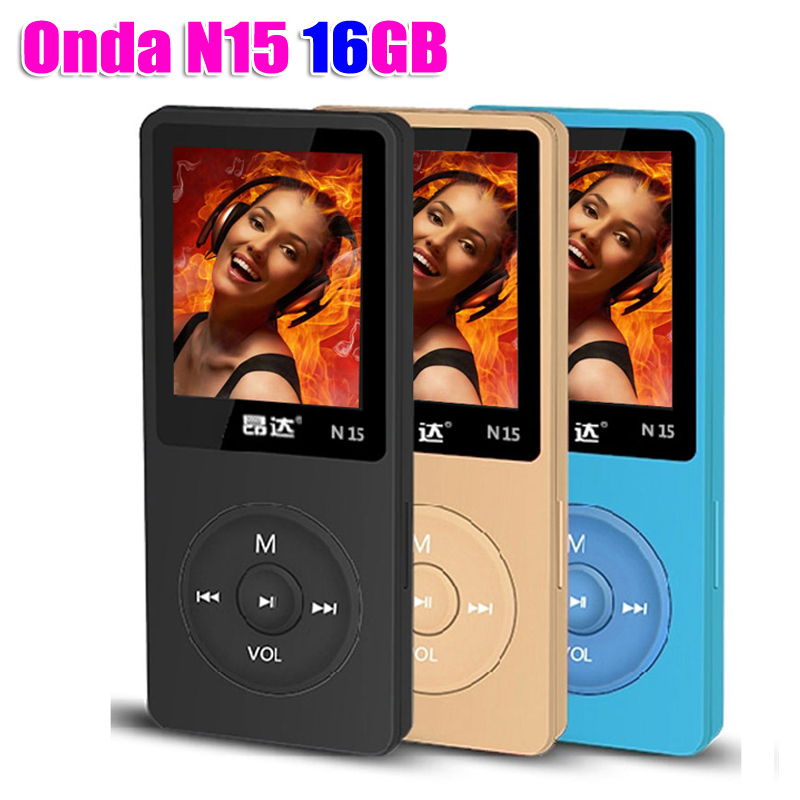 Latest Ultrathin 16GB MP3 Player Build in Speaker 1.8 Inch Screen can play 80h, Original Onda N15 With FM,E-Book,Clock,Data(China)