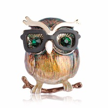 Kawaii Owl With Glasses Shape Brooch Bright Enamel Esmalte Bird Animal Clothing Accessories Women Brooches Hijab Pins Clips Gift(China)