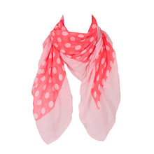 2016 New Fashion Design Positioning The Fluorescent Dot Print Polyester  Square Scarf Women Kid Red Scarf