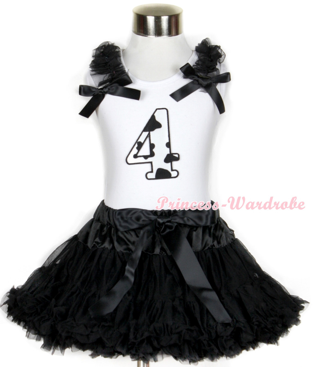 Halloween White Tank Top with 4th Milk Cow Birthday Number Print with Black Ruffles &amp; Black Bow &amp; Black Pettiskirt MAMG684<br>