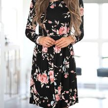 Women Mini Dress Long Sleeve Flower Printed Boho Dresses O-Neck Cute Robe Female Vestidos Autumn Clothing Women WS1682X