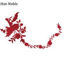 Buy Han Noble Long Flowers Embroidery Stripes Applique Patches iron Sewing Clothes Wedding Decoration Dress Crafts P136 1pc for $3.40 in AliExpress store