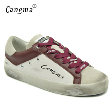 CANGMA 2017 New Brand Shoes Female White Wine Genuine Leather Handmade Flats Woman Breathable Vintage Platform Sneakers Shoes(China)