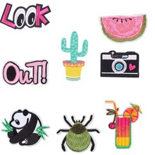 1PCS Flower Rose Cactus Camera Patch Letter Iron Sew On Cartoon Patches Cheap Embroidered Fashion Patches For Clothes Badges DIY