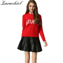 Zarachiel 2017 Winter Jacquard Letter Runway What day is today Knitting Rabbit Velvet Pullover Sweater Soft Casual Jumper Tops(China)