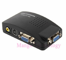 Converter Adapter Box RCA To VGA Converter TV To  New TV AV S Video RCA Composite to VGA PC Monitor PC Adapter