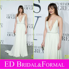 A Line Beaded  Sexy Plunging V Neck Chiffon 2015 Prom Dress Jamie Dornan  Fifty Shades of Grey London Premier  Red Carpet Dress