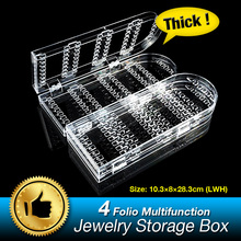4 Folio Foldable 240 jewelry Box Storage Holder Earrings Organizer Boxes Ring Display Stand Clear Acrylic Rack EQC376(China)