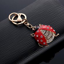 Cute Rhinestone Ladybug Beetle Keychain Key Chain Holder Bag Charm Car Key Chain Accessories Gifts @M23(China)