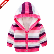 Winter Baby Girls Clothes Hooded Coat Hand Knit Sweater 100%Cotton Warm Sweaters Cardigan For Kids Girls(China)