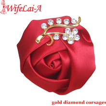WifeLai-A Gold Color Crystal Brooch Wedding Bouquet Decor Boutonniere Winered Satin Rose Groom Corsage Brooch Flower Pin X200G(China)