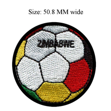 50.8MM wide Zimbabwe flag patch of soccer ball football shipping to for cloth patch/iron-on patches/goods for sewing(China)