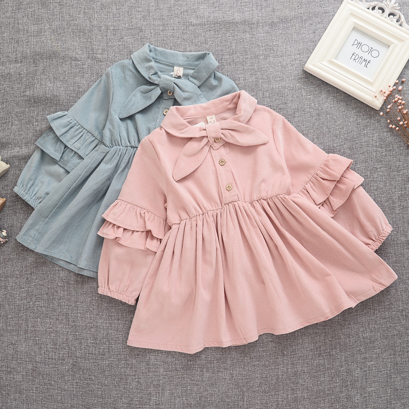 kids girls dresses autumn spring long sleeve turn down collar solid blue pink bow ruffle dress baby princess children clothing<br><br>Aliexpress