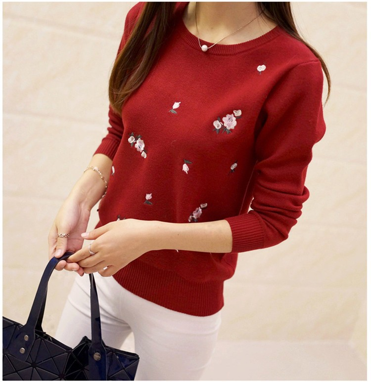 S-3XL New Youth Women's Sweater Autumn Winter 17 Fashion Elegant Peach Embroidery Slim Girl's Knitted Pullover Tops Female 21